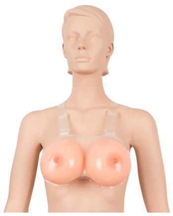 Strap-on met grote siliconen borsten